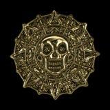 Goldene aztekische Piratenmünze Stockbilder