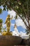 Goldene Baby-Buddha-Statue und fünf sitzende Buddha-Statuen bei Wat Pha Sorn Kaew Stockfotos