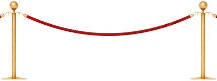 Goldene Barrikade mit rotem Seil stock abbildung