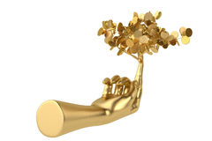 Goldene Baum- und Goldhand Abbildung 3D Stockbild