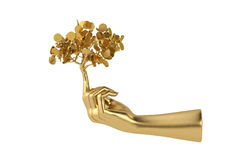 Goldene Baum- und Goldhand Abbildung 3D Lizenzfreies Stockbild