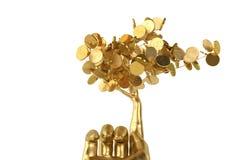 Goldene Baum- und Goldhand Abbildung 3D Stockfotos