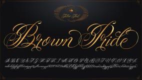 Goldene Beschriftung Brown-Stolzes Stockfotografie