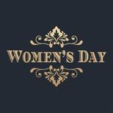 Goldene Beschriftung der Frauen Tages Auch im corel abgehobenen Betrag Stockfoto