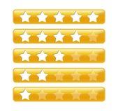 Goldene Bewertungsstäbe mit Sternen Stockbilder