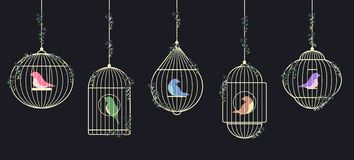 Goldene Birdcages Lizenzfreies Stockfoto
