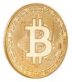 Goldene bitcoin cryptocurrency Münze lokalisiert auf weißem Hintergrund Lizenzfreies Stockfoto