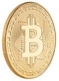 Goldene bitcoin cryptocurrency Münze lokalisiert auf weißem Hintergrund stockfotografie