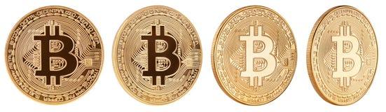 Goldene bitcoin cryptocurrency M?nze lokalisiert auf wei?em Hintergrund stockfotografie