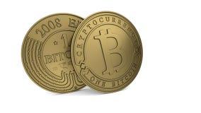 Goldene Bitcoin-Münze Stockfotos