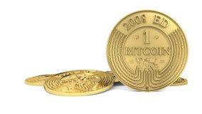 Goldene Bitcoin-Münze Stockbild