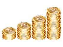 Goldene Bitcoin-Münzen Lizenzfreie Stockbilder