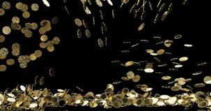 Goldene bitcoin Münzen fallen und den Schirm, digitalen Geldregen füllen Dollar und Euro Am besten für für Sieger lizenzfreie abbildung