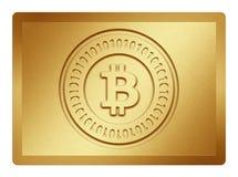 Goldene Bitcoin-Platte Stockbild