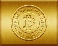 Goldene Bitcoin-Platte Lizenzfreies Stockfoto