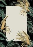 Goldene Bl?tter des tropischen Plan-Gr?ns des Rahmens A4 stock abbildung