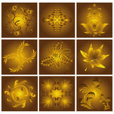 Goldene Blumenmuster lizenzfreie stockbilder