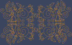 Goldene Blumenverzierung auf einem blauen Hintergrund lizenzfreie abbildung