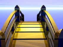 Goldene Brücke, die zur Zukunft vorangeht Stockfotos