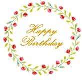 Goldene Buchstaben alles Gute zum Geburtstag in einem Kranz von roten Blumen und von grünen kleinen Blättern für Karten, Grüße lizenzfreie abbildung