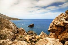 Goldene Bucht in Malta Stockfotos