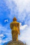 Goldene Buddha-Statue und blauer Himmel im thailändischen Tempel Lizenzfreies Stockbild