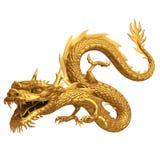Goldene chinesische Drachefront Lizenzfreie Stockfotos
