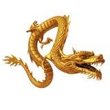 Goldene chinesische Drachefront Stockfoto