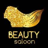 Goldene Dekoration eines Schönheitssalons, das Mädchenentwurfsschattenbild, das ihr Haar, helle Illustration wellenartig bewegt V Stockbilder
