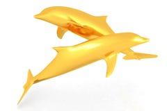 Goldene Delphine Stockbild