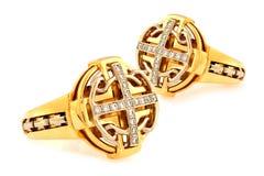 Goldene Diamantringe Stockbild