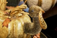 Goldene die Kürbis-Türkei-Danksagungs-Dekoration lizenzfreie stockbilder