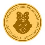 Goldene digitale Münzenhauptikone des Babys Vektorart Goldgelbes flaches Münze cryptocurrency Symbol Lokalisiert auf Weiß Stockbild