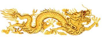 Goldene Dracheskulptur Stockfotos