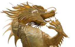 Goldene Drachestatue Stockfoto