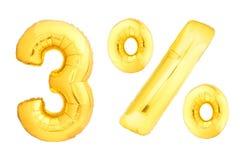 Goldene drei Prozent gemacht von den aufblasbaren Ballonen Stockfotografie