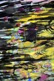 Goldene dunkle gelbe schwarze Wellen spritzt, bunte klare wächserne Farben, kreativer Hintergrund der Kontraste Lizenzfreies Stockbild