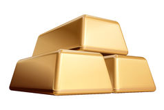 Goldene Edemetallbarren 3 getrennt Lizenzfreies Stockfoto