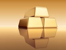 Goldene Edemetallbarren Stockbild