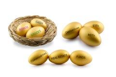 Goldene Eier mit Arten des Finanz- und Investitionsproduktes Lizenzfreie Stockfotos