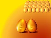 Goldene Eier mit Dollarzeichen Stockfotos