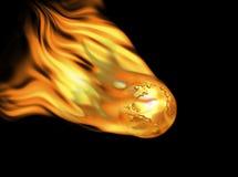 Goldene Erde auf Feuer Stockfoto