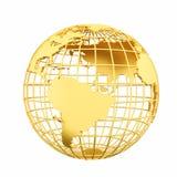 Goldene Erdplanet 3D Kugel lokalisiert Lizenzfreies Stockfoto