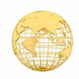 Goldene Erdplanet 3D Kugel lokalisiert Stockfoto