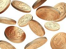 Goldene fallende Münzen Stockfotos