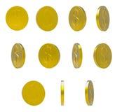 Goldene fallende Münzen auf weißem Hintergrund lizenzfreie abbildung