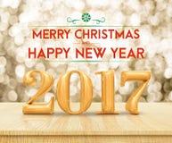 Goldene Farbe-2017 frohe Weihnachten und HappyNew-Jahr 3d renderin Stockfoto