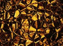 Goldene farbige Entlastungskristallhintergründe Stockfoto