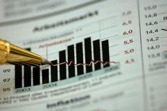 Goldene Feder, die Diagramm auf Finanzreport zeigt Lizenzfreies Stockfoto