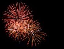 Goldene Feuerwerke im schwarzen Himmel Lizenzfreie Stockfotos